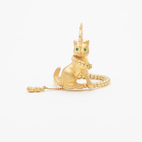Punk Gold Cat ring