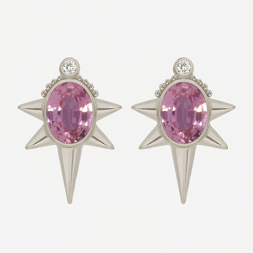 18K White Gold Oval Pink Sapphire Studs