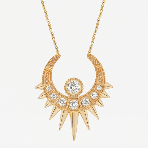 Long White Moon Necklace