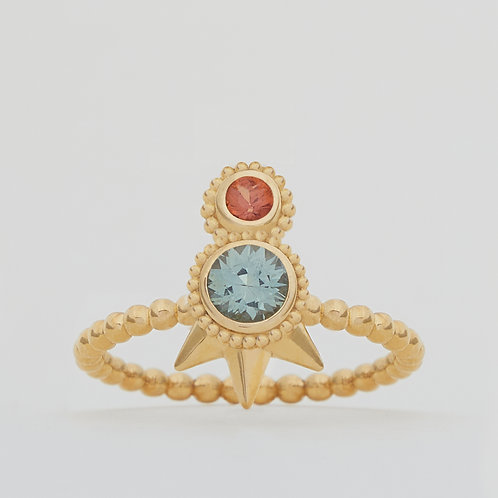 Small Round Green and Orange Sapphires Ring