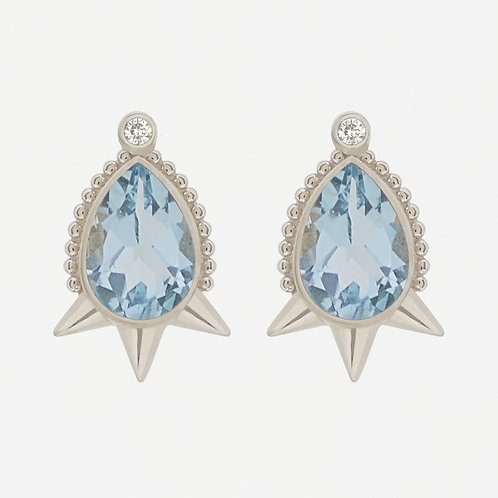 White Gold Large Pear Topaz Studs