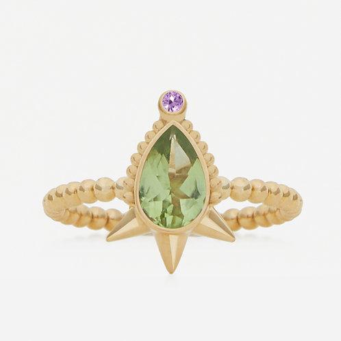 Small Pear Peridot Ring