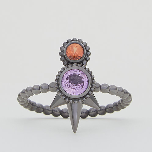 Round Pink and Orange Sapphires Ring