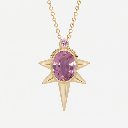 Oval Pink Sapphire Necklace