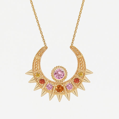 Fancy Sapphires Moon Necklace