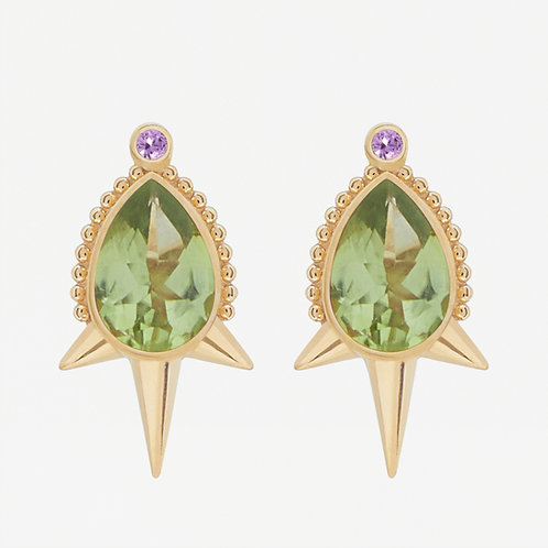 Large Pear Peridot Studs