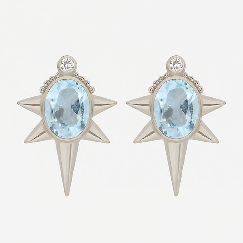 18K White Gold Oval Topaz Studs