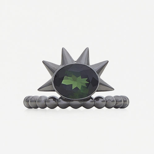Spike Oval Green Tourmaline Ring