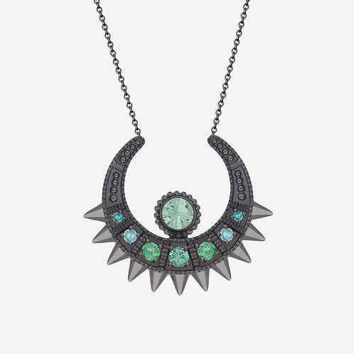 Black Spike Moon Necklace with Tsavorites