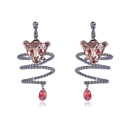 Bloody Pink Leopard Earrings-Rings