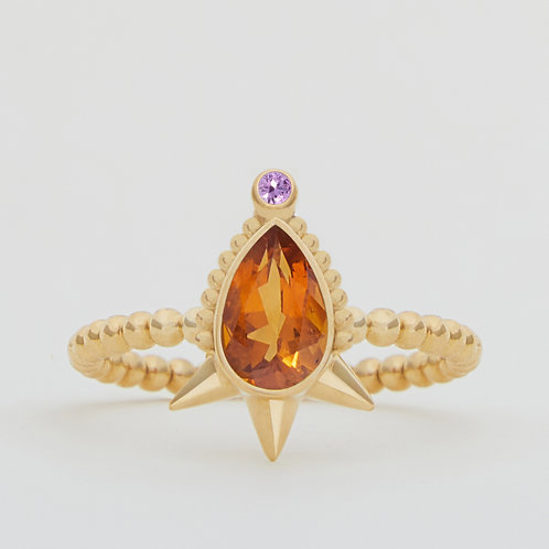 Small Spike Pear Citrine Ring