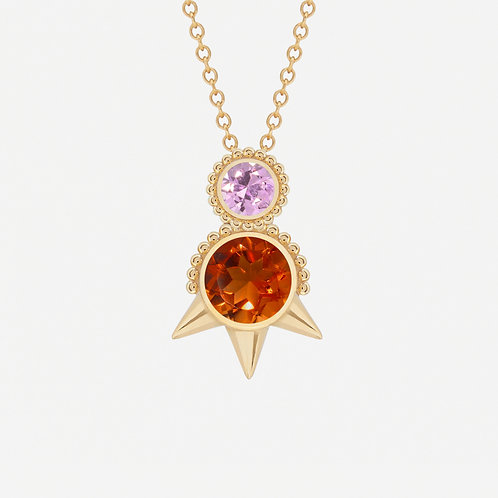 Round Citrine and Pink Sapphires Necklace