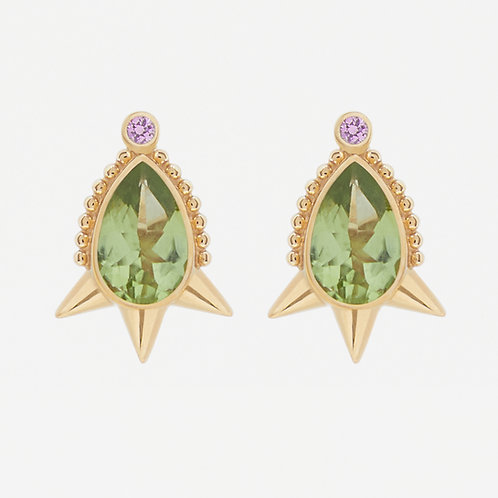 Small Pear Peridot Studs