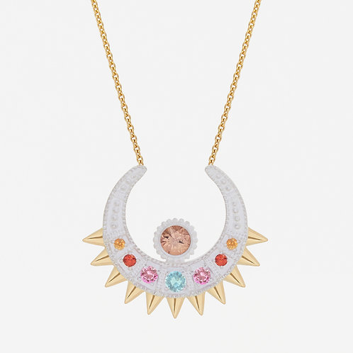 White Spike Moon Necklace