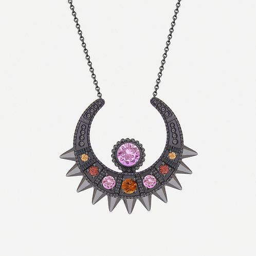 Black  Moon Necklace with Fancy Sapphires