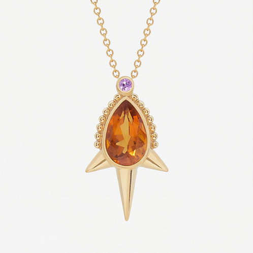 Long Spike Pear Citrine Necklace