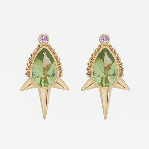 Small Pear Peridot Long Studs