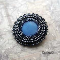 Blue Glass Brooch