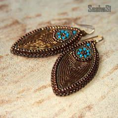 Goldwork Navette Earrings