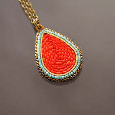 Red and Turquoise Drop Pendant