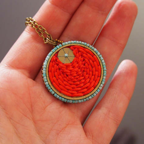 Red and Turquoise round Pendant