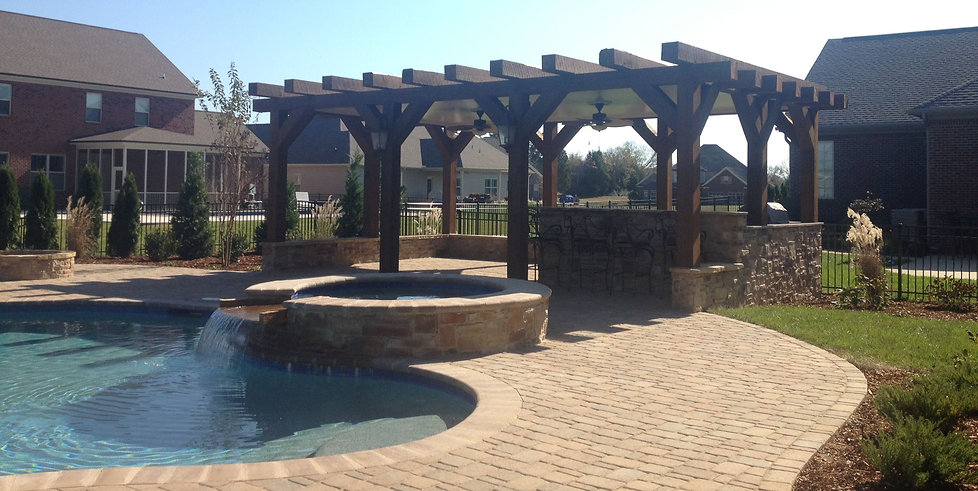 landscape design knoxville tn, landscape design knoxville, landscaping, hardscaping, design, custom swimming pool, paver pool deck, outdoor kitchen, pergola, paver patio, fire pit, retaining walls