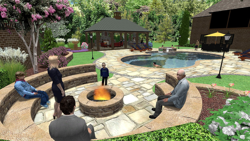Landscape design knoxville, hadscape design knoxville, showing the design of a backyard oasis with retaiing wall, swimmig pool, fire pit, hot tub, stone patio, outdoor fireplace, outdoo kitchen, and landscaping, landscape architects knoxville tn, landscape designers knoxville tn, hardscaping design knoxville, hardscaping design knoxville tn