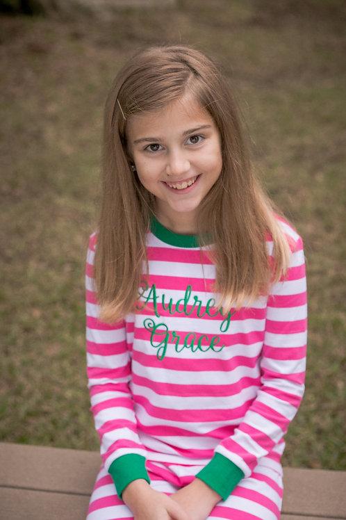 Pink Striped Christmas Pajamas