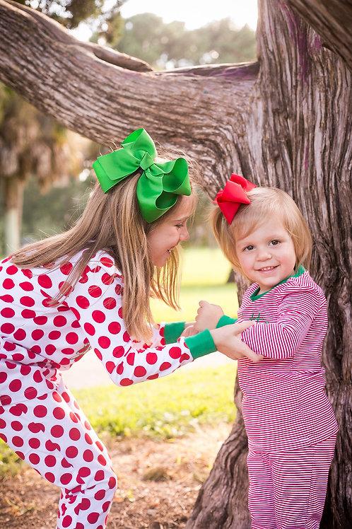 Red Micro-Striped Christmas Pajamas