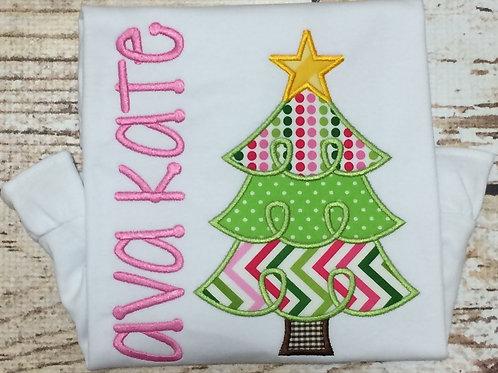 Christmas Tree Girl Applique
