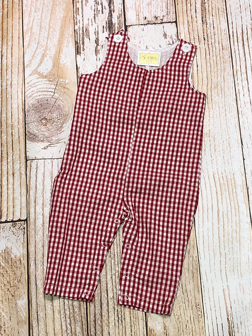 Boys Gingham Long John Overalls