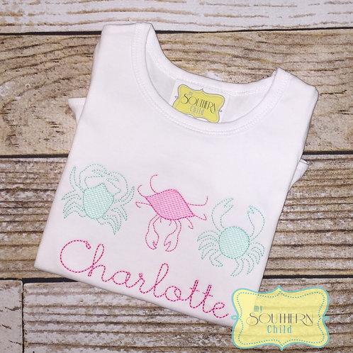 Crab Trio Fill Stitch Girls Shirt