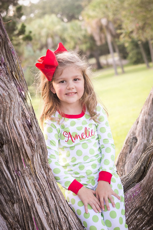 Lime Polka Dot Christmas PJs