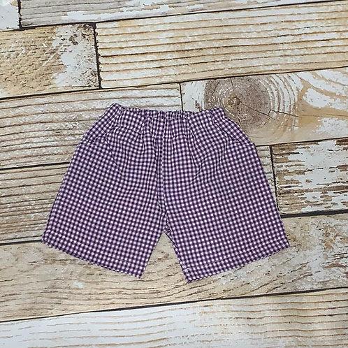 Boys Purple Gingham Shorts