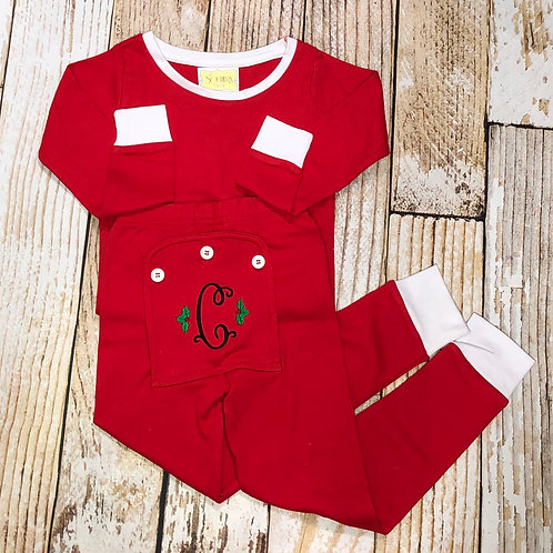 Red Two-Piece Holly Jolly PJs