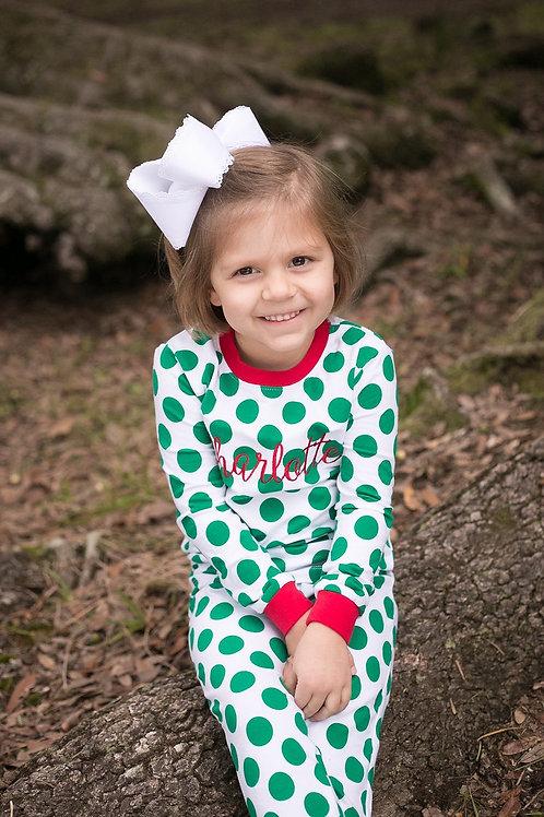 Kelly Green Polka Dot Christmas Pajamas
