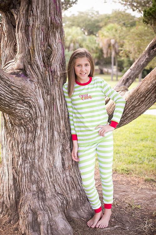Lime Striped Christmas Pajamas