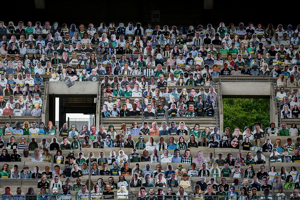 Cardboard fans take the stands at German side Borussia Mönchengladbach's stadium (Photo Credit: Time/Christian Verheyen/Getty Images)