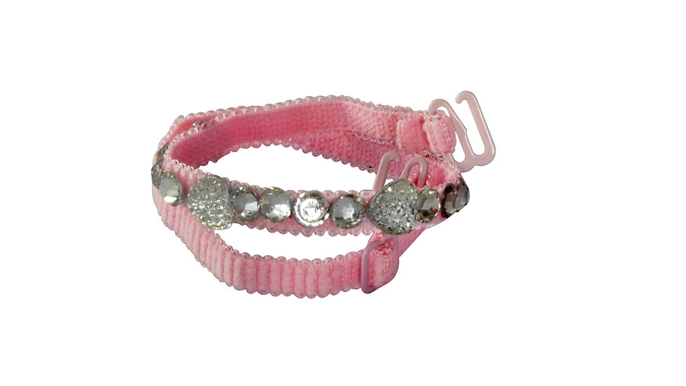 Pink Strap with Diamond and Heart Shaped Stones