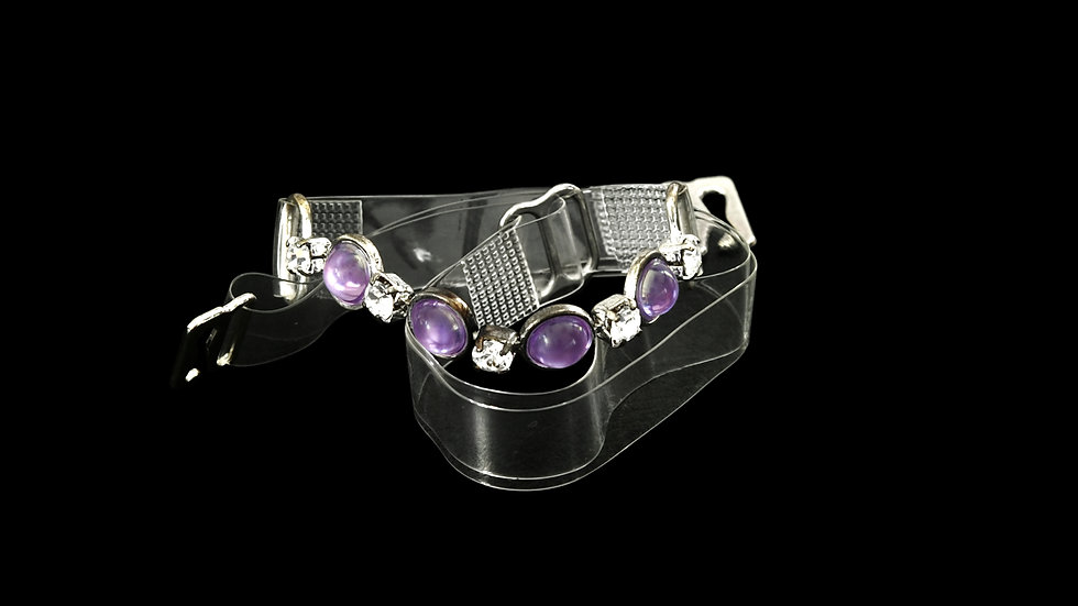 Stylish Clear Strap with Purple Stones and Rhinestones