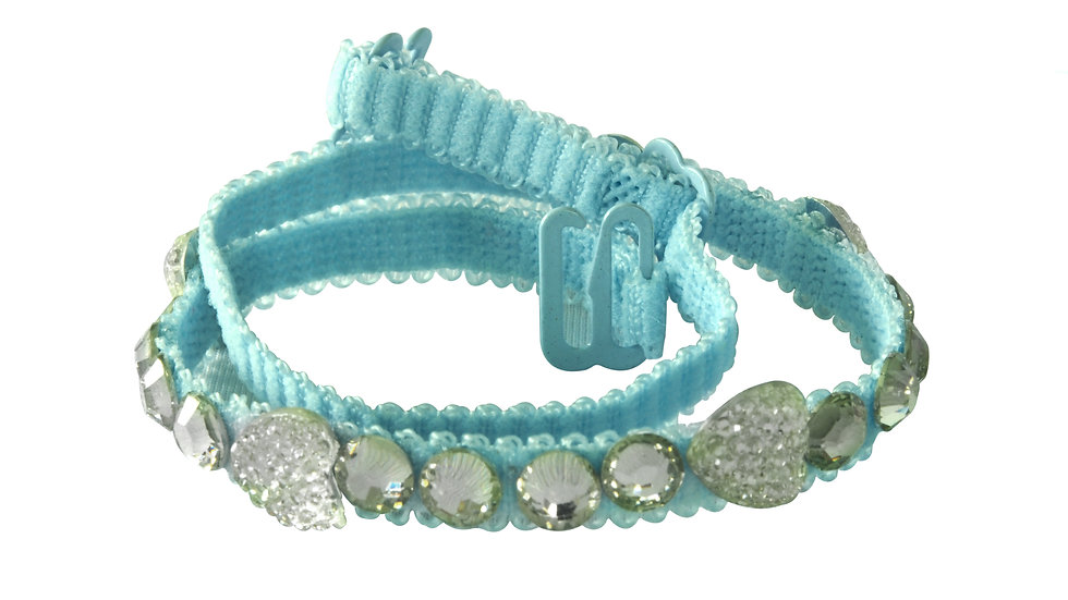Blue Strap with Diamond and Heart Shaped Stones