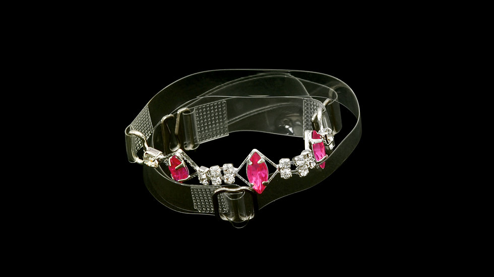 Stylish Clear Strap with Red Stones and Rhinestones