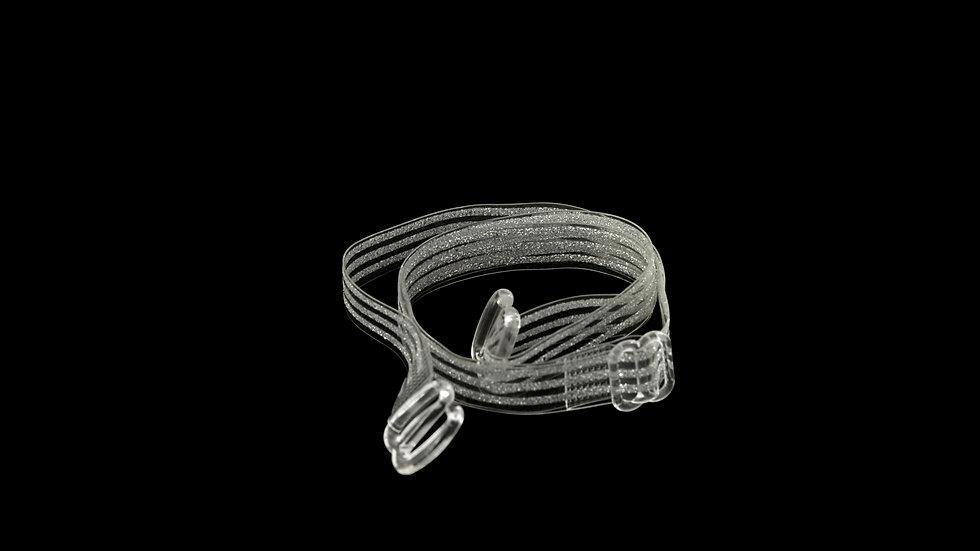 Clear Bra Straps | Silver Glitter Stripes