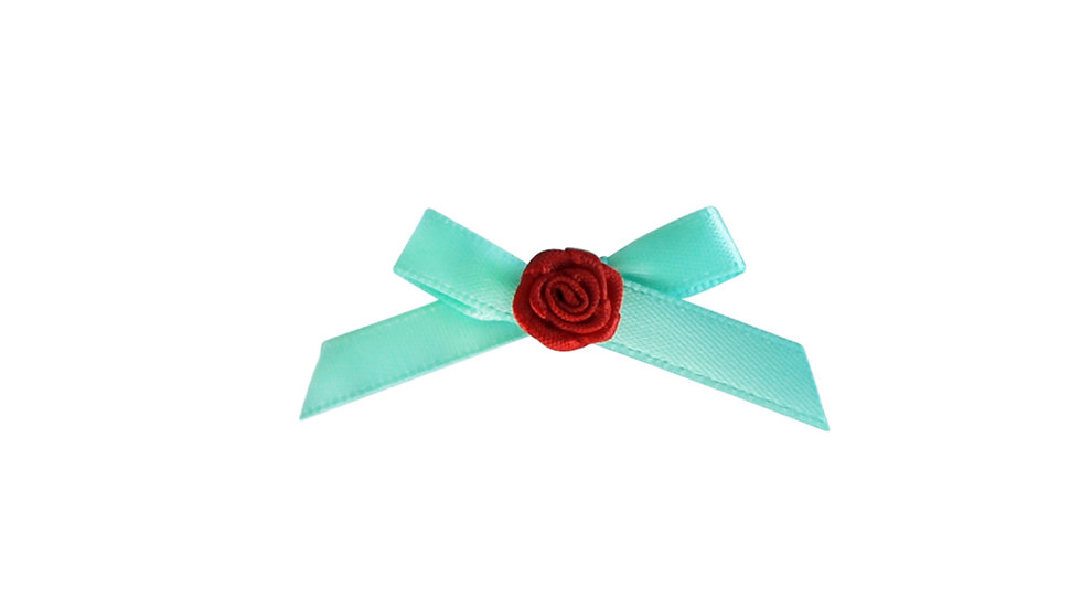 Fancy Green Satin Bow with Red Flower