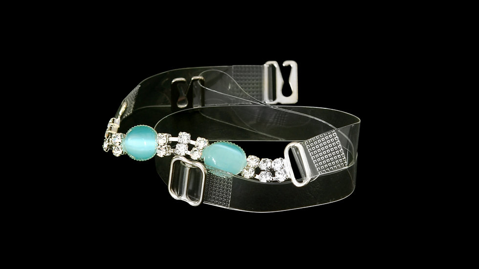 Stylish Clear Strap with Turquoise Stones and Rhinestones