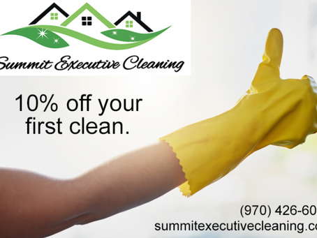 10% off your next clean with Summit Executive Cleaning — Summit County's premier cleaning service.