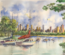 Watercolor Painting boats in Morning light