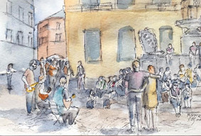 Watercolor Painting Street music