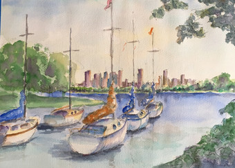 Watercolor Painting Boats t rest