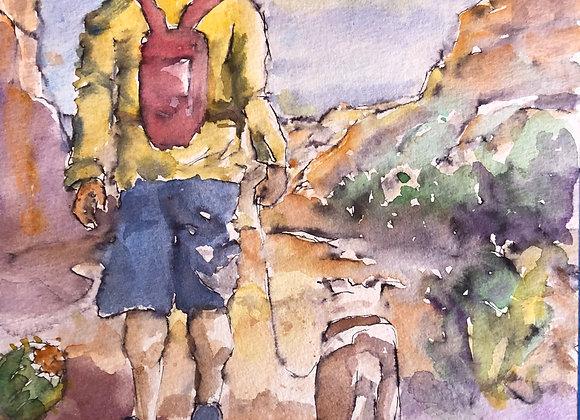 Watercolor hiker.